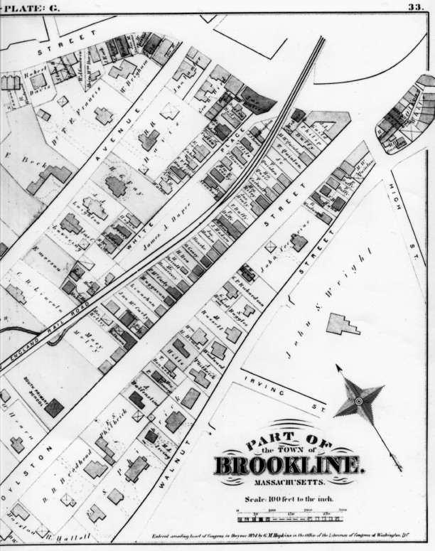 Plate G (right half) from Atlas of the Town of Brookline, Norfolk County, Massachusetts. 1874. (Brookline Public Library: [Brookline Room] 917.445 B76 1874) Streets on map: Boylston Street, Walnut Street.