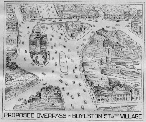 Proposed Overpass in Boylston Street at the Village